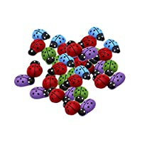 Homyl 30 Pieces Lots Colorful Mini wooden ladybirds, wooden beetle sponge sticker ladybug sticker, ladybugs craft scrapbooking card wood toppers embellishments 13x3mm