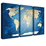 LANA KK Weltkarte Leinwandbild mit Korkrückwand zum Pinnen Der Reiseziele Englisch Kunstdruck, Blaues Meer, 150 x 100 cm
