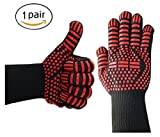 Barbecue gloves,for home oven bbq insulation flame retardant gloves with thickened environmental silicone up tp 500°C aramid gloves 34cm (pack of 1 pair)