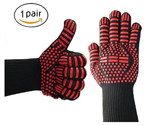 Grillhandschuhe, für den heimischen Backofen bbq Isolierung flammhemmende Handschuhe mit verdickter Umwelt Silikon bis tp 500 ° C Aramid...