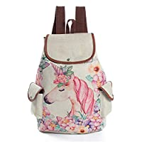 Hilai Cartoon Pink Unicorn Print Linen Backpack Drawstring Backpack for Girls School Backpack