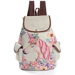 Dibujos animados rosa unicornio impresión de lino mochila con lazo mochila para niñas Escuela mochila