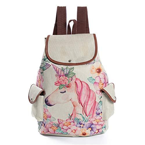 Cartoon Pink Unicorn Print Leinen Rucksack DrawString Rucksack für Mädchenschule Rucksack (Mädchen Drawstring-rucksack)