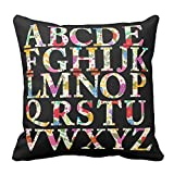 Bags-Online Decorative Square Colorful Flowers Leaf English Alphabet Pillow Case Covers Home Decor Design for Sofa Two Sides 20X20 inch
