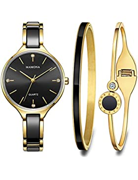 MAMONA Frauen Armbanduhr Geschenk Set Kristall beschmückt Schwarz Keramik und Edelstahl L3877BKGT