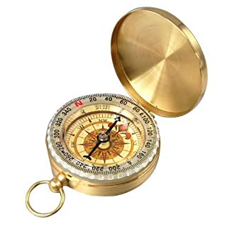Aussel Traditional Outdoor Classic Brass Pocket Watch Style Compass for Camping / Hiking / Traveling