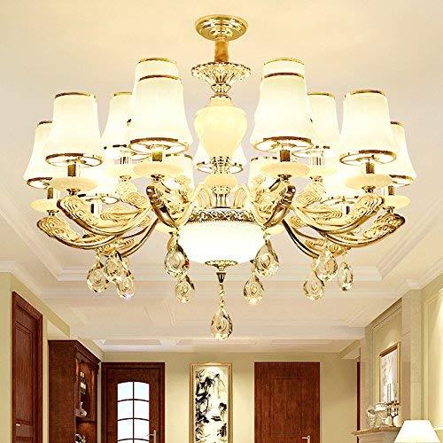 15 Licht-kristall-kronleuchter (JFFFFWI Moderne einfache kronleuchter Zink-Legierung Stil Wohnzimmer kristall Jade Restaurant Schlafzimmer Lichter, 15 Kopf)