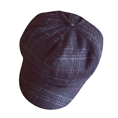 POachers Vintage Cappello con Visiera Donna Puro Colore Berretto Ottagonale Baschi Stile Francese Nero