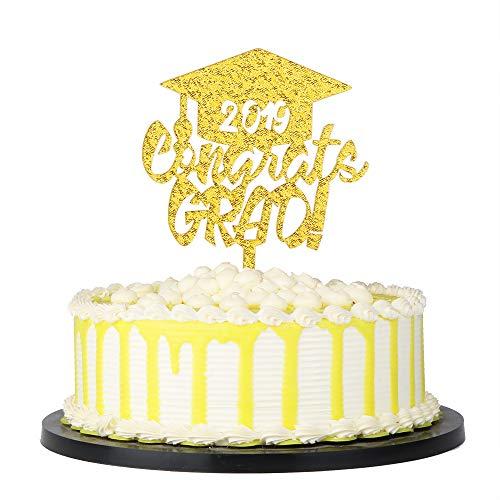 PALASASA 2019 Congrats Grad Acryl Tortenaufsatz - High School Graduation, College Graduate 2019 Graduation Party Decorations Supplies gold