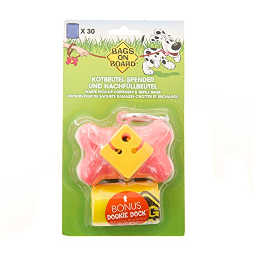 bags-on-board-dog-waste-bag-bone-dispenser-marble-pink-with-30-refill-bags