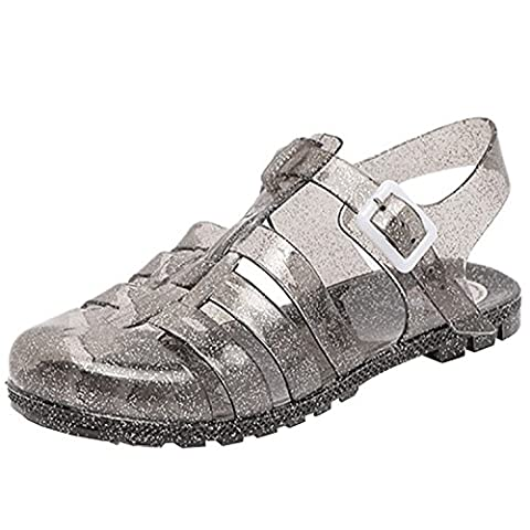 Oasap Women's Fashion Buckle Flat Jelly Sandals, Silver Gray EURO37/US6/UK4