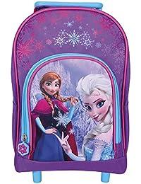 Mini Valise Enfant Disney La Reine des Neiges - Sac à Dos avec Roues pour Maternelle et école Primaire avec Anna et Elsa de Frozen - Violet - 31x24x13 cm - Perletti