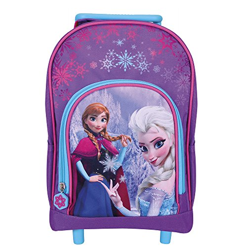 Mini trolley bambina disney frozen - zaino con ruote e bretelle regolabili per asilo e scuola elementare con elsa e anna - violetto - perletti 24x31x13 cm