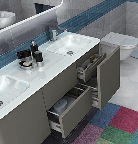 Mobile arredo bagno liverpool sospeso 140 cm doppio lavabo in cristallo bianco con 4 colori mobili - Amazon mobili bagno sospesi ...