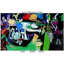 Stampa in Tela Canvas 100% QUALITà ITALIA - Picasso - Night fishing at antibes effetto Dipinto Idea Regalo Casa quadro cucina stanza da letto soggiorno (80x134)