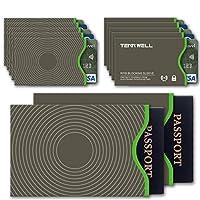 Tenn Well Secure Sleeve -RFID Blocking Sleeves Credit Card Debit Card ID & Passport Protector(10 Credit Card Sleeves & 2 Passport Sleeves)