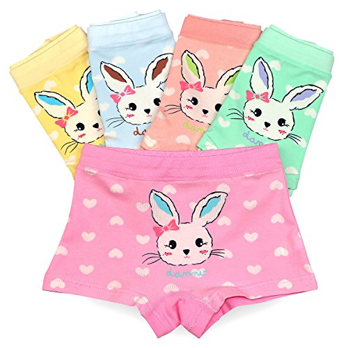 Espoy Girls Knickers Underwear Briefs 5 Pack Back To School Rabbit Print Cotton Blended Panties Cute Bunny Pattern Multipack UK 3-13 Years