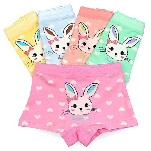 Espoy Mädchen Unterhose Unterwäsche Slips Set Hase Muster Kinder-Unterwäsche Baumwolle 1-8 Jahre 86-134 10er Pack (Unterwäsche 6 Mädchen)