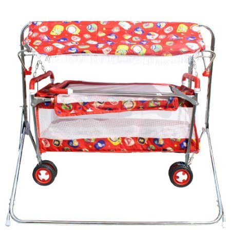 My Angel Steelcraft 7 In 1 Baby Cradle, Cot, Crib, Bassinet, Stroller, Shelter, and Swing - Red