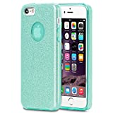 LetiStore Apple iPhone 5 / 5S / SE Hülle - Handyhülle Aus Silikon – Kratzfeste Und Stoßfeste Schutzhülle - TPU Handy Case Bumper Backcover - Glitzer Mintgrün