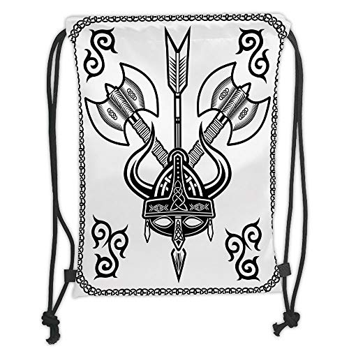 Trsdshorts Drawstring Backpacks Bags,Viking,Helmet with Horn Arrow Axe Antique War Celtic Style Medieval Battle Art Prints,Black White Soft Satin,5 Liter Capacity,Adjustable String Closure,Th -