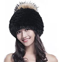 URSFUR Rex pelliccia di coniglio pelliccia di volpe Pelliccia maglia  cappello da donna beanie cappello con 89f41640503f