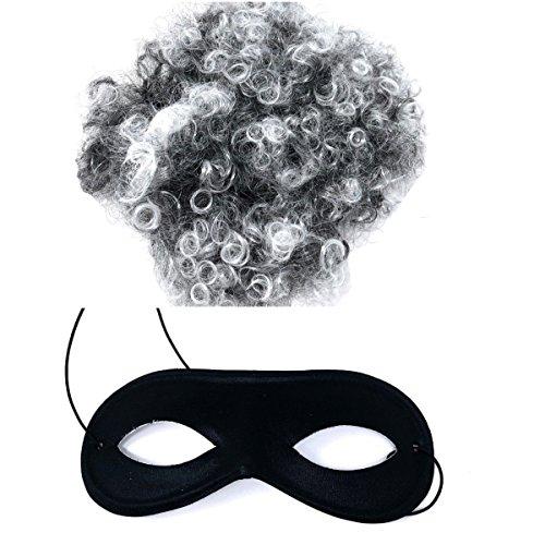 Allaccessories Gangster Oma Satz Perücke Maske Einbrecher Kostüm Buchwoche Tag Unisex (Gangster Oma Kostüm)