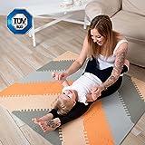 Stylische Puzzlematte für Babies und Kinder |+20% dicker Spielmatte | Nicht giftig, schadstofffrei, geruchlos, TÜV geprüft Spielteppich | 48-teilig, 1,2x1,2m | 1 Jahr freie Garantie | Geschenk für Kinder