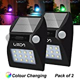 [Pack of 2] Fairy Garden Ornaments Solar Motion Sensor Lights Outdoor Lighting, Patio, Pathway, Fence, Stairway, Garage, Wall, Post, Deck, Walkway, Driveway, Yard, Shed lights with Colour Changing