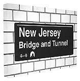 Stupell Industries New Jersey Brücke und Tunnel Schild, gestreckt, Mehrfarbig, 40,64 x 3,81 x 50,8 cm, Canvas, Mehrfarbig, 24' x 30'