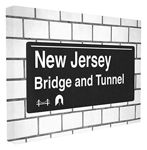 """Stupell Industries New Jersey Brücke und Tunnel Schild, gestreckt, Mehrfarbig, 40,64 x 3,81 x 50,8 cm, Canvas, Mehrfarbig, 24"""" x 30"""""""