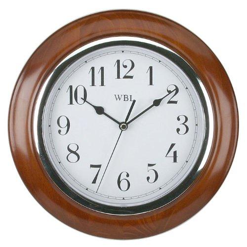 traditional-mahogany-wood-wall-clock-chrome-arabic-dial