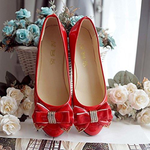 salto De Saingace Plana toe Sapatos Arco Moda outono Mulheres vermelho primavera pSxwqxPW