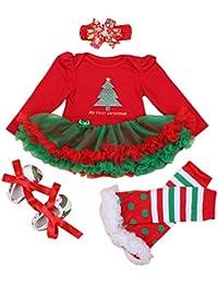 Happy Cherry - 4PCS Costume della Santa del Partito per Neonata Bambina -  Pagliaccetto con Maniche Lunghe - Vestito per Natale… f84e82f28af