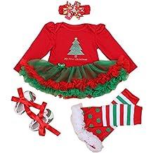 FEOYA - (set de 4)Vestido Ropa Traje de Navidad para Bebés Niñas Recién nacidos con Mangas Largas Christmas Venda de Pelo y Calcetines Zapatos para Fiesta Ceremonia - Navidad Rojo - Talla 1-24 meses