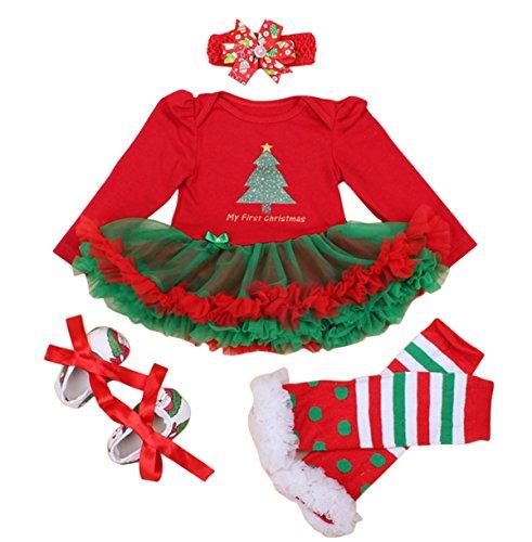 FEOYA - (set de 4)Vestido Traje de Navidad Tutú para Recién nacidos Bebés Niñas con Mangas Largas Venda de Pelo y Calcetines Zapatos para Fiesta Ceremonia - Navidad Rojo - S(0-3Meses)