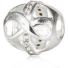 Grano del encanto infinito - con cristal transparente - 925. Plata de ley de nuevo - se Chamilia Pandora pulsera del encanto del etc