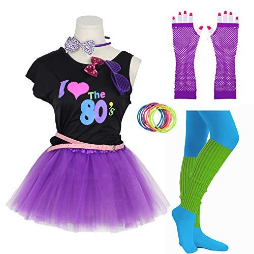 8IGHTEEN COSTUME Mädchen 80er Jahre Kostüm Zubehör Kostüm für 1980er Jahre Thema Party Supplies (10-12 Years, Purple) (80er Jahre Pop Party Mädchen Kostüm)