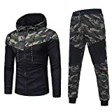 ESAILQ Herren Herbst Winter Camouflage Sweatshirt Top Hose Sets Sportanzug Trainingsanzug(XX-Large,Tarnen)