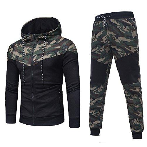 ESAILQ Herren Herbst Winter Camouflage Sweatshirt Top Hose Sets Sportanzug Trainingsanzug(Medium,Tarnen) - Rabatt Damen Golf-bekleidung
