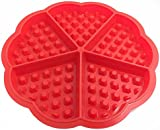 SKMEI Bakeware High Quality Silicone Waffle Baking Molds Mini Heart Waffle Mold Muffin Mould,Red