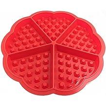 Skmei–Molde mini corazón de silicona para hornear magdalenas o gofres, rojo