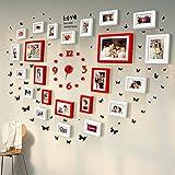 QU HUAI DONG AA Wand-Kombination Herz der Fotowand Hölzerne Fotorahmen Wedding Kreative Fotowand des Hochzeitsfoto-Hochzeitsgeschenkschlafzimmers Home (Farbe : B)