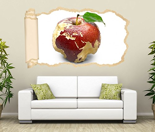 3D Wandtattoo Tapete Apfel Europa Karte Afrika Weltkarte Wand Aufkleber Wanddurchbruch Deko Wandbild Wandsticker 11N1058, Wandbild Größe F:ca. 97cmx57cm Europa Karte Aufkleber