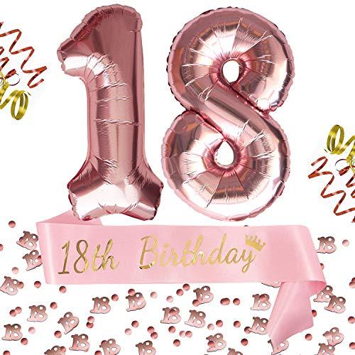 Oblique Unique® 18. Geburtstag Party Feier Deko Set - 18th Birthday Schärpe + Folien Luftballons Zahl 1 und 8 + Konfetti Zahl 18 - Roségold Rosa