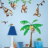 RoomMates Repositionable Childrens Wall Stickers Monkey Business