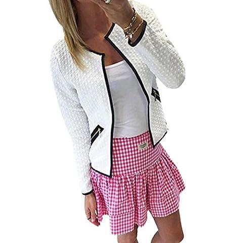 DDLBiz® Femmes élégant Tartan Cardigan à Manches Longues / Blouse à Carreaux en Coton Doux - Confortable (S, Blanc)