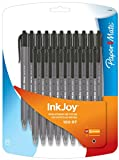 Paper Mate Inkjoy 100RT Retractable Ballpoint Pen, Medium, Black, Set of 20 (1879090)