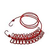 nuzamas 12Pegs tendedero de pinzas portátil ampliable ajustable retráctil tendedero para Camping viaje ropa lavandería secado al aire libre y uso en interiores, color rojo