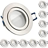 10er IP44 LED Einbaustrahler Set Silber gebürstet mit LED GU10 Markenstrahler von LEDANDO - 5W DIMMBAR - warmweiss - 110° Abstrahlwinkel - Feuchtraum/Badezimmer - 35W Ersatz - A+ - LED Spot 5 Watt r